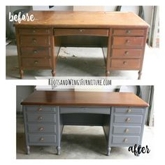 Hello friends!  Because I know you love a good before and after just like I do, I have a  quick makeover post for you today. This executive desk makeover did not  disappoint!  Our church is moving to a permanent location, so along with the move comes  the need for lots of furniture. I offer