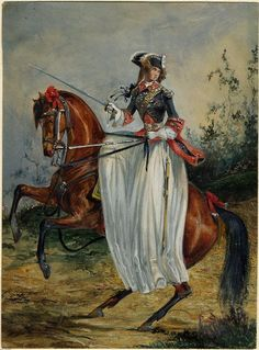 Loin des balles — vfreie: Woman in French Garde du Corps uniform,. Century, Equestrian Art, Sketches, Art, Portrait, Artist, Artwork, Horse Painting, Painting