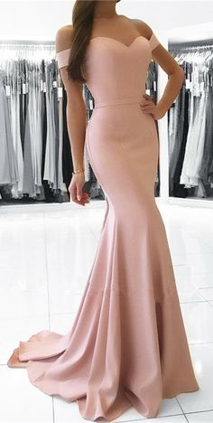 pearl pink mermaid prom dresses,elegant long prom dress,elegant formal evening dress,off the shoulder party dress