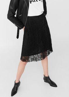 Lace pleated skirt | MANGO