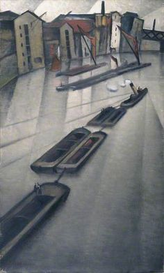 Christopher Nevinson - Barges on the Thames