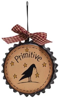 Country Primitive Bottle Cap Stars Crow Grungy Willow Tree Saltbox Ornament  #Country