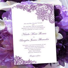 "Vintage Lace Wedding Invitations "" Purple "" 