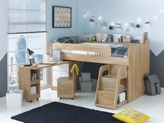 Give your little one a bed of dreams with the Ultimate Storage Mid sleeper bed. It comes complete with a swing-out shelved desk, chair, storage and step ladder.