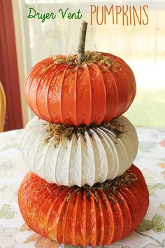 Pumpkin dryer vent craft to make a unique topiary craft for fall, autumn, Halloween or Thanksgiving.