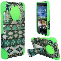 Insten / White Aztec Hard PC/ Silicone Dual Layer Hybrid Case Cover with Stand For HTC Desire 626/ 626s