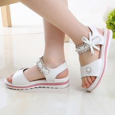 Children'S Shoes Flowers Girls Sandals 2019 New Summer Students Big Girls Child Little Girl Princess Shoes 4 5 6 7 8 9 10 11 12 Girls Sandals, Girls Shoes, Princess Shoes, Heels Outfits, Childrens Shoes, Pink Shoes, Leather Fashion, Leather Heels, Little Girls