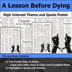 Highlight Key Theme And Pique Student Interest With Thi Printable Poster The Image Can Be Printed On 8 5x11 5x14 Quote Workbook Cover Lesson A Before Dying Essay Topics