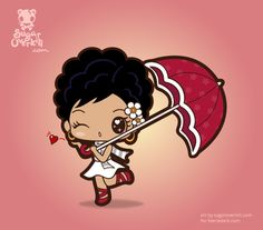 A Kawaii Chibi girl in a white dress and a parasol. Used as a book character: commissioned by www.faeriedark.com