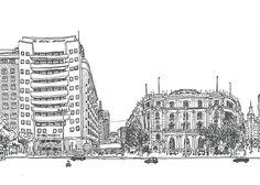 Alameda de ida y vuelta oftewel een rondje door Alameda in de oneindige tekeningen vanVicente José Cociña.  Images via