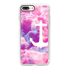 Girly Nautical Anchor Bright Pink Clouds Sky Ipad Mini - iPhone 7... (1,980 PHP) ❤ liked on Polyvore featuring accessories, tech accessories, iphone case, iphone cases, slim iphone case, iphone cover case, apple iphone case and iphone mini case