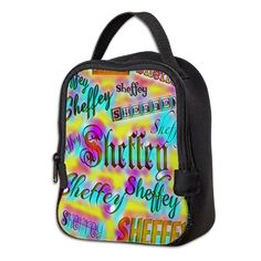 Sheffey Fonts - Yellow and Pink Rainbow 9642 lunch bag- great for office refrigerators