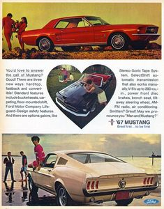 1967 Mustang: my very first sweet 16 car! Yup and I still own it!! Cherry red!!