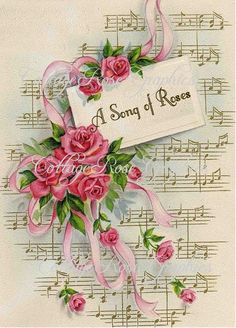 Vintage SONG OF ROSES Art Print