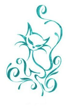 azarya cat color by xoulart on deviantART aqua teal turquoise - doodle inspiration Cat Tattoo Designs, Henna Designs, Cat Embroidery, Motifs Animal, Cat Crafts, Cat Drawing, Cat Design, Pyrography, Body Art Tattoos