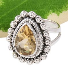 MODERN 925 SOLID STERLING SILVER Citrine Cut FANCY RING 6.04g DJR10145 SZ-6.5…
