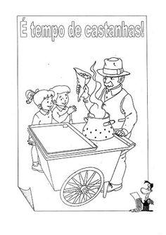 vendedor de castanhas para colorir - Pesquisa Google Halloween, Arts And Crafts, Comics, School, Drink, Kindergarten Jobs, Autumn Activities, Fall Preschool, Leaf Art