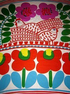 Marimekko fabric bag with birds and flowers Motifs Textiles, Textile Prints, Textile Patterns, Textile Design, Fabric Design, Print Patterns, Floral Patterns, Lino Prints, Block Prints
