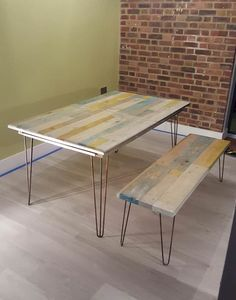 furniture, recycled pallet, table, upcycled Extendable pallet wood table with matching bench and coffee table. The hairpin legs were custom made to suit the larger depth of the top. The base is made from thick ply and then built up to accommodate the extendable extension runners. All in all
