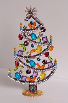 Czech Hand Made Rhinestone Christmas Tree