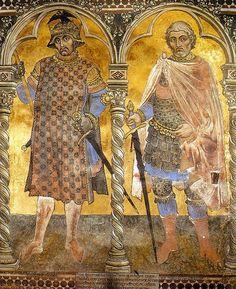 Cesare e Pompeo del ciclo degli Uomini illustri a Palazzo Pubblico di Siena - Taddeo di Bartolo - 1414