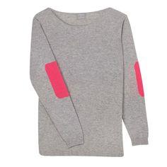 Orwell + Austen Cashmere   Wolf & Badger  #madeinbritain #patchsweater #neonpink #graysweater