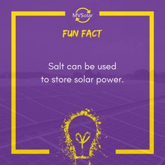 MV Solar Fun Fact: Salt can be used to store solar power. Solar Solutions, Renewable Energy, Newcastle, Solar Panels, Solar Power, Being Used, Fun Facts, Salt, Store