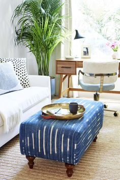 Feeling this light and airy modern bohemian home office