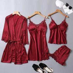 One Lot Pajama Sets For Women Womens Pyjamas Sleepwear Pijama Seda 1180 – P… - women pajamas Cute Sleepwear, Sleepwear Women, Pajamas Women, Satin Pyjama Set, Satin Pajamas, Pajama Set, Night Outfits, Cute Outfits, Fashion Outfits