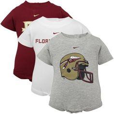 Nike Florida State Seminoles (FSU) Infant Garnet-White-Ash 3-Pack Creeper Set