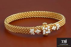 North meets South Fusion wear Antique bangle, set with Diamonds in Gold. Gold Bangles Design, Gold Jewellery Design, Gold Jewelry, Leather Jewelry, Crystal Jewelry, Gold Armband, Diamond Bangle, Diamond Jewelry, Diamond Choker