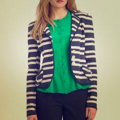 "Nanette Lepore Miss Ohio striped jacket grey/blue 100% cotton. Soft but structured. Small front pockets, back pleats. Shoulders measure about 15.5"" across. Nanette Lepore Jackets & Coats Blazers"