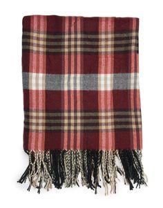 Knit Check Tassel Shawl