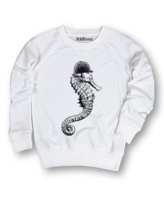 Look at this White Seahorse Pullover Sweatshirt - Girls on #zulily today!