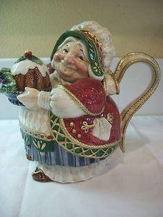 Fitz Floyd Classics Holiday Christmas Teapot Nice Lady Baker   eBay