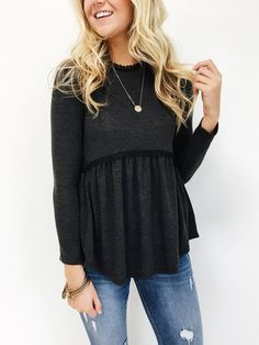 Charcoal Babydoll Top High Neck w& Back Long Sleeve Lace Detailing Model is Wearing a Small Casual Outfits, Cute Outfits, Fashion Outfits, Casual Shirts, Fashion Days, Pretty Outfits, Dress Fashion, Style Fashion, Fashion Trends