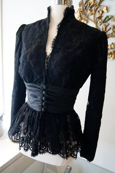 Items similar to Vintage Black Lace Jacket by Travilla Bellissima Las Vegas Size M on Etsy Kebaya Lace, Kebaya Dress, Black Lace Jacket, Lace Dress Black, Dress Lace, Trendy Dresses, Fashion Dresses, Casual Dresses, Vintage Dresses