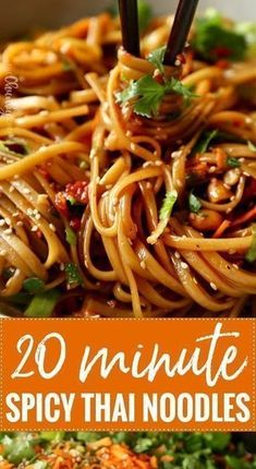 · Deliciously spicy with hints of sweetness, these noodles are an amazing addition to your dinner table food recipes dinners cooking 20 Minute Spicy Thai Noodles Easy Appetizer Recipes, Spicy Recipes, Easy Dinner Recipes, Easy Meals, Cooking Recipes, Healthy Recipes, Asian Noodle Recipes, Rice Noodle Recipes, Tai Food Recipes