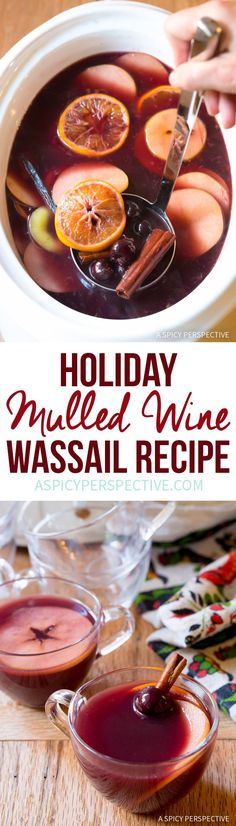 Vibrant Mulled Wine (Hot Wassail Recipe) on ASpicyPerspective. - Vibrant Mulled Wine (Hot Wassail Recipe) on ASpicyPerspective… - Holiday Drinks, Holiday Recipes, Christmas Recipes, Christmas Mocktails, Winter Cocktails, Alcohol Recipes, Wine Recipes, Drinks Alcohol, Alcoholic Beverages