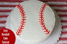 Easy Baseball Cake Tutorial - Follow this tutorial to create the perfect cake for a Baseball Birthday Party! Events To Celebrate