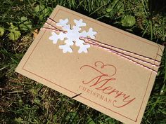 Snowflake Sewn Christmas Card  set of 25  Baker's by pghpapercraft, $68.75