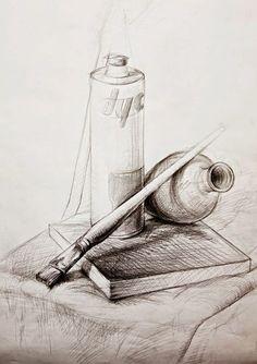 Still life pencil shading, still life sketch, still life drawing, watercolor sketch, Pencil Art Drawings, Art Drawings Sketches, Easy Drawings, Still Life Sketch, Still Life Drawing, Drawing Lessons, Drawing Techniques, Drawing Ideas, Drawing Skills