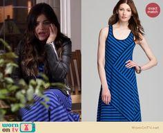 Aria's blue striped maxi dress and black biker jacket on Pretty Little Liars. Outfit Details: http://wornontv.net/18147
