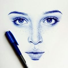 Ballpoint Bic Pen Portrait Drawings – Keep up with the times. Amazing Drawings, Art Drawings Sketches Simple, Ink Pen Drawings, Realistic Drawings, Ballpen Drawing, Ballpoint Pen Drawing, Minimalist Drawing, Still Life Drawing, Indian Art Paintings