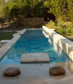 A small backyard doesn't need to stand in the way of a pool.  This 50' long lap pool is perfect for the small yard.