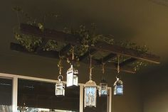 #Patio decor; hang lanterns from ladder (or homemade ladder)