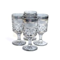 Silver Pressed Glass Goblets - Diamond Quilt Style Pattern, Shiny and Elegant Charcoal Gray Accent - Wedding, Vintage Kitchen or Bar