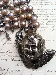 ANGEL SCENT  Terrific Pearl Cherub and Heart by DRAMAJEWELRY