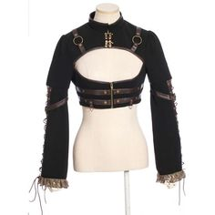 Black Gothic Steam Punk Military Fashion Crop Bolero Jackets Women SKU-11401069
