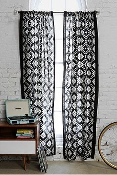 Magical Thinking Black & White Ikat Curtain